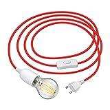 ledscom.de Cable textil LEHA enchufe interruptor E27 portalámpara rot 3m + LED bombilla 7W 800lm blanca cálida 3-Stufen oscurecimiento