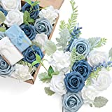 Ling's moment Artificial Wedding Flowers Combo Box Set for DIY Bouquets Table Centerpieces Flower Arrangements Cake Decorations (French Dusty Blue)