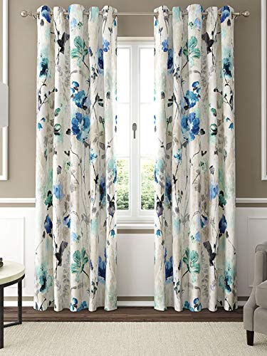 GMF Polyester Valencia Printed Grommet Window Curtain Panel, Set of 2 (Size: 52 x 84 Inch, Petrol Blue) - Modern Abstract Curtains for Living Room, Bedroom