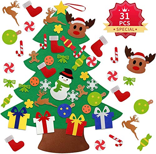 Kederwa Kids Felt Christmas Tree, 31 PCS DIY Felt Christmas Tree with Detachable Ornaments for Kids & Toddlers, Hanging Wall Decoration for New Year