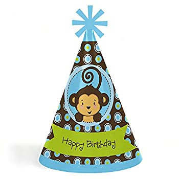 Blue Monkey Boy - Cone Happy Birthday Party Hats for Kids and Adults - Set of 8  Standard Size