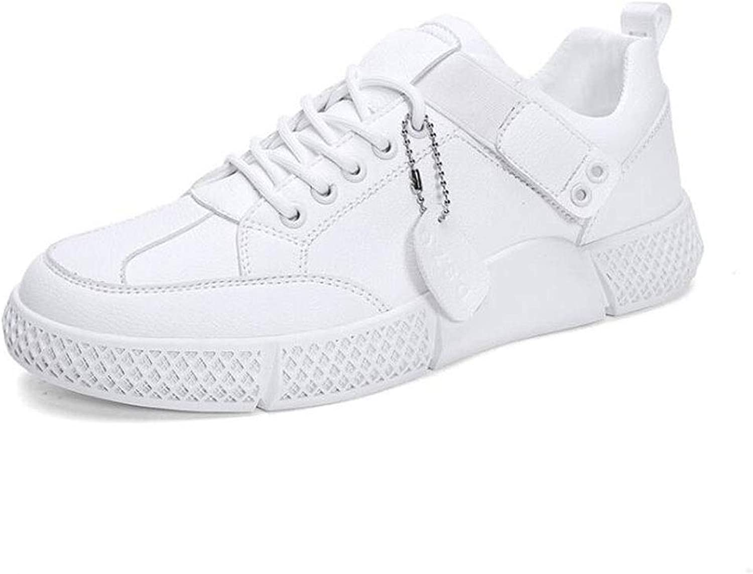 ZJEXJJ Men's sneakers casual shoes sweat-absorbent breathable running shoes leather travel shoes (color   White, Size   8.5 UK)
