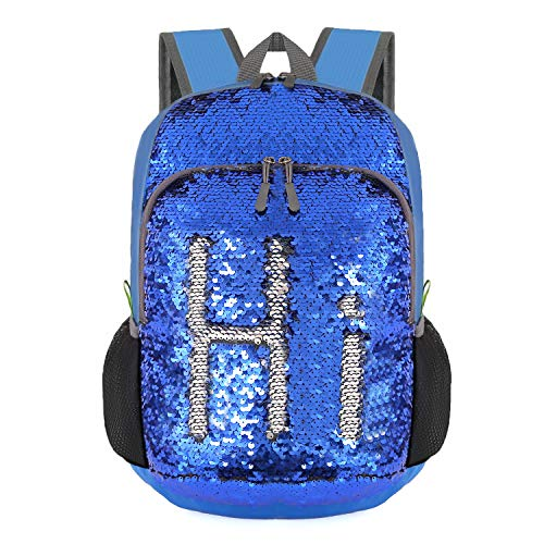 Bekahizar 20L Reversible Sequin Backpack Glittering Bling Mermaid Daypack Rucksack Lightweight Magic Travel Day Bag for Boys and Girls Hiking Camping Cycling Walking (Sequin Silver Blue)