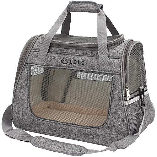 DW Transporttasche für Haustiere, Reisetasche für Haustiere mit Weicher Oberfläche, Sichere Reisehundetasche für Autositze, Geeignet für Kleine und Mittlere Katzen und Hunde (Hellgrau)