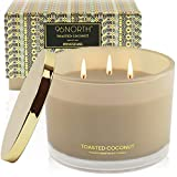 96NORTH Luxury Soy Coconut Candles   Aesthetic Large 3 Wick   Tropical Beach Scented Candles for Home   All Natural Long Lasting Candle   Unique Candle Gifts for Women/Her
