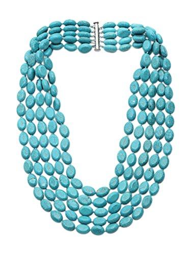 TreasureBay Stunning Handmade Five-strand Natural Turquoise Gemstone Beaded Necklace, Women's Turquoise Necklace