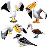HOMNIVE Bird Toys - 5pcs Realistic Birds Animal Figurines Toy Set - Includes Ostrich, Kingfisher, Pelican - Educational Learning Toys Birthday Set For Boys Girls Kids Toddlers