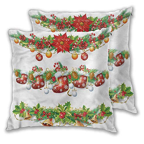 Xlcsomf Christmas Pillow Cover Cushion Cover, 24 x 24 Inch Traditional Garland For sofa Christmas decoration Set of 2