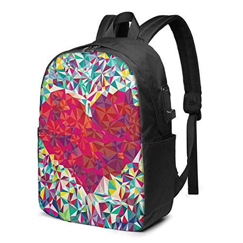 AOOEDM Laptop Backpack Colorful Abstract Water Resistant College School Bag with USB Charging Port