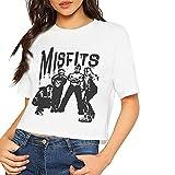 Sexy Mis-Fits Impresión de Manga Corta Camiseta de Cultivo Midriff Moda Verano Crop Top Club Ropa