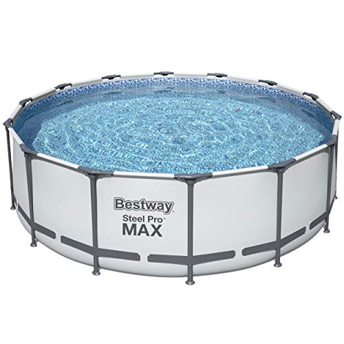 Bestway 5613HE Steel Pro MAX 14 x 4 Foot Puncture Resistant PVC Liner Above Ground Round Pool Set with Ladder, Cover, and Filter Pump