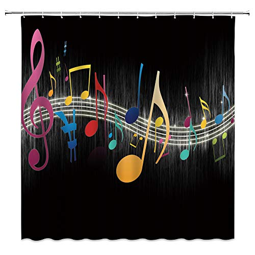 Music Shower Curtain Colorful Muscial Notes Sheet Music Vintage Creative Black Silver Modern Art Fabric Bathroom Home Decor Sets with 12 Hooks,71X71 Inchs