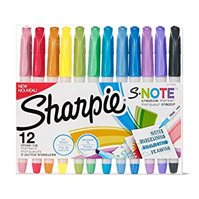 Sharpie S-Note Creative Markers, Assorted Colors, Chisel Tip, 12 Count