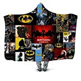 Batman Spiderman Printed Plush Hooded Blanket for Adults Kid Warm Blankets for Beds Wearable Double Layer Fleece Throw Blankets,H,150x130cm