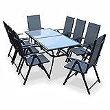 Alice's Garden - Comedor de Jardin, Conjunto de Mesa y sillas de Aluminio y textileno - Antracita/Gris - 8 plazas - NAEVIA