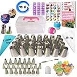 RFAQK- 90 Pcs Russian piping tips set with storage case - Cake decorating supplies kit - 54 Numbered...
