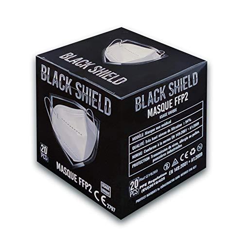 BLACK SHIELD - 20 Stück - FFP2 Atemschutzmaske, CE Zertifiziert, 5-lagige, Einweg