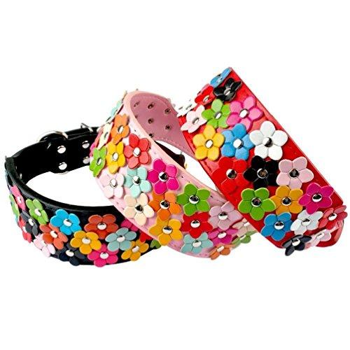 """OCSOSO® Super cuello collar cuero de perro mascota con flores de colores–Collar de piel sintética para tamaño mediano y grande perros 2""""de ancho ajustable"""