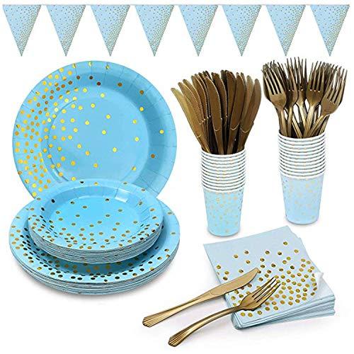 MarquisJacobs 145 Blau Gold Partygeschirr Folie Pappteller Servietten Becher Besteck für Hochzeit Geburtstag Jubiläum Set für 24 Gäste