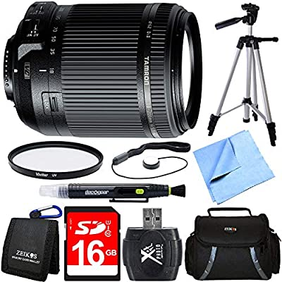 Tamron 18-200mm Di II VC All-in-One Zoom Lens for Nikon Mount Bundle with 16GB SDHC High Speed Memory Card, Camera Bag for DSLR, 62mm Multicoated UV Protective Filter and 60 Inch Camera/Video Tripod by Tamron