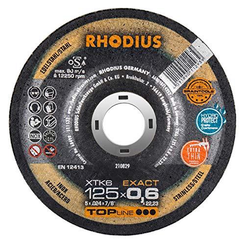 RHODIUS extra dünne INOX Trennscheiben Metall XTK6 EXACT Made in Germany Ø 125 mm für Winkelschleifer Metalltrennscheibe 50 Stück