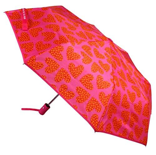 Paraguas Resistente al Viento Sistema de Apertura automática Plegable Color Rosa con Corazones Agatha Ruiz de la Prada