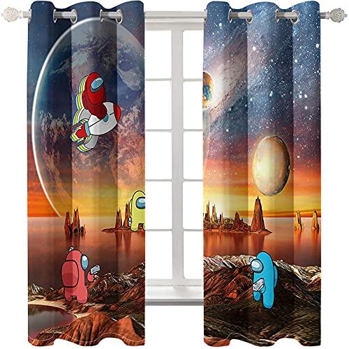 Cortinas De La Serie Cartoon Universe Perforadas Fáciles De Instalar Aislantes Térmicos Cortinas Opacas Y Flotantes Adecuadas para Hotel Dormitorio Estudio