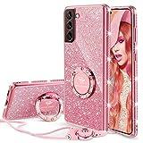 OCYCLONE Funda para Samsung Galaxy S21 Plus (6.7 Pulgadas), Brillante Cover Case con Soporte para Anillos y Cordón para Niñas y Mujeres, Funda Protectora Galaxy S21 Plus - Oro Rosa