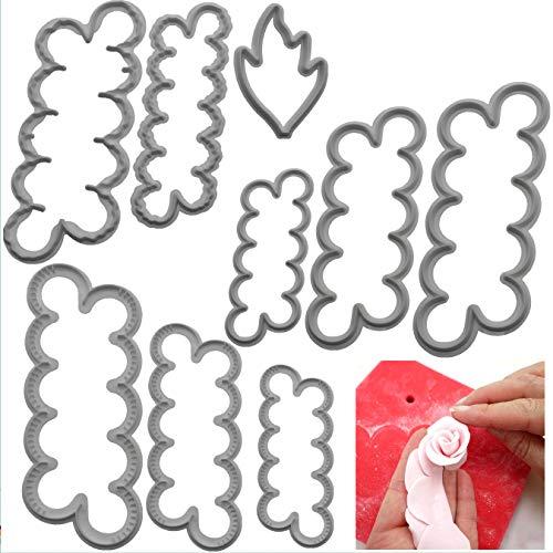 3 juegos de molde de pétalos para decoración de pasteles para hornear, molde de impresión y corte de pastel de fondant de rosa/clavel/peonía, molde para galletas