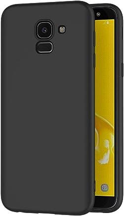 AICEK Cover per Samsung Galaxy J6 2018, Cover Samsung J6 2018 Nero Silicone Case Molle di TPU Sottile Custodia per Galaxy J6 2018 (5,6 Pollici)