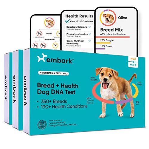 Embark | Hunde-DNA-Test | Rassen-Identifikation | 160 Gesundheitsergebnisse | 200K genetische Marker | 3 Stück
