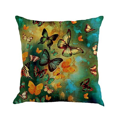 Kavitoz Pillow Cases, Butterfly Painting Linen Cushion Cover Throw Waist Pillow Case Square Sofa Home Decor (D)