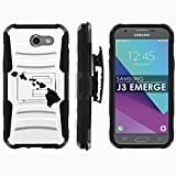 Samsung Galaxy J3 Emerge [2017] Phone Cover [Mobiflare] [Black/Black] Dual Hybrid Armor Phone Case [Screen Protector Included] - [Hawaii Islands]