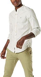 Dockers Camisa de manga larga con botones y cuello de banda para hombre