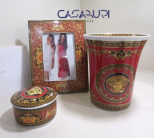 VERSACE. Set 3pz Medusa red (vase cm 18 h + Bilderrahmen cm 23 x18 + Dose cm 10 h 7,5 cm