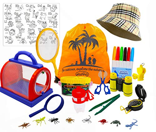 RUVVAS Bug Catcher Kit and Outdoor Exploration Kit for Kids with Binoculars, Magnifying Glass, Butterfly Net, Critter Case, Compass, ABC Coloring Placemat, 6 Washable Markers, Ages 4 and Up