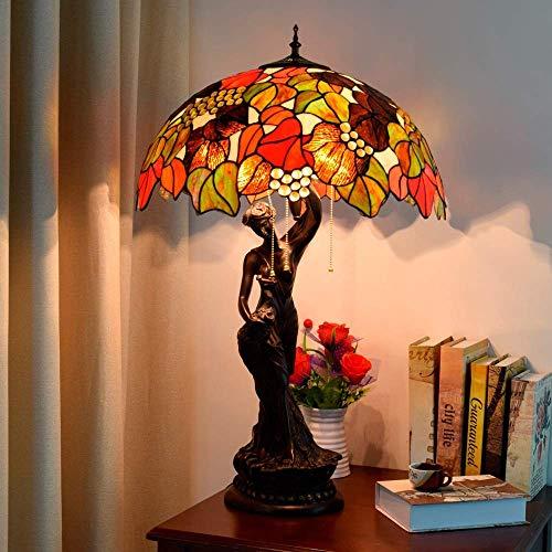 Kreative Mode Europäische Retro Tischlampe Kreative Tiffany Style Glasmalerei Traubenkunst Glas Wohnzimmer Tischleuchte 50 * 81Cm Novelle, HJY