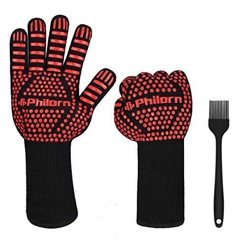 PHILORN 800 °C Grillhandschuhe Ofenhandschuhe Grill Lederhandschuhe Hitzebeständige bis zu Universalgröße Kochhandschuhe Backhandschuhe für BBQ Kochen Backen und Schweißen-Klassisch (Rot)