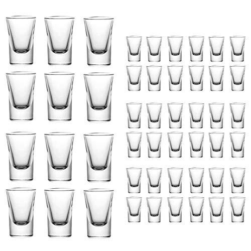 mixed24 - Juego de 48 Vasos de chupito, 2 cl, 4 cl, 20 ml, 40 ml, Vasos de chupito, Vasos de Tequila, Copas de Vodka, Licor