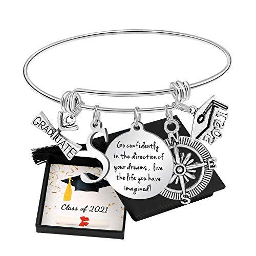 Graduation Gifts for Her Class 2021College High School Inspirational Graduation Bangel Bracelet Initial Letter S for Daughter Sister Girlfriend Girls Friend Niece Cousin Classmates