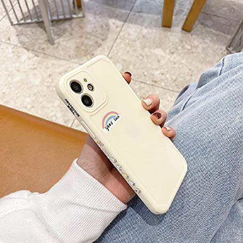 Funda de teléfono a Prueba de Golpes de Silicona TPU con Estampado de arcoíris para iPhone 12 Mini 11 Pro XS MAX XR X SE 7 8 6 6S Plus-for_iPhone_7_8_White