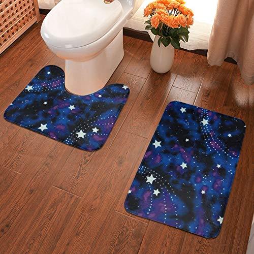 John J Littlejohn Non Slip Galaxy Stars Magic Glow In The Dark Bathroom Antiskid Pad Bathmat Waterproof Bath Carpet Bath Mat + Contour