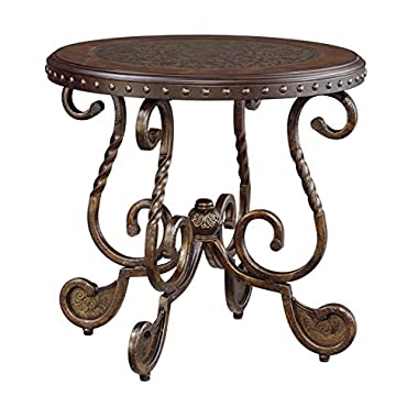 Ashley Furniture Signature Design - Rafferty End Table - Round - Vintage Brown