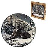 Puckator Lisa Parker Snow Kisses Wolf-Reloj de Pared, diseño de Lobo, Mixto, Height 30cm Width...