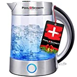Pohl Schmitt 1.7L Electric Kettle with Upgraded Stainless Steel Filter, Inner Lid & Bottom, Glass Water Boiler & Tea Heater with LED, Cordless, Auto Shut-Off - Boil-Dry