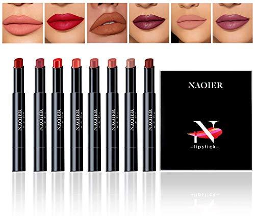 NAQIER Lippenstift Set Matt, Set bestehend aus 8 Lippenstiften, Nude Lipgloss, Wasserdicht