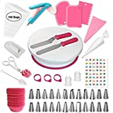 Shpebs Cake Decorating Supplies | Cake Decorating Kit Baking Supplies Set For Beginners | Rotating Cake Turntable Stand | Icing Piping Tips & Bags | Frosting & Pastry Tools (196 Pcs)