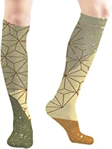 Autumn Poster Banner Greeting Card Template Cover Abstract Green Women's Men's Knee High Socks Athletic Socks 19.7