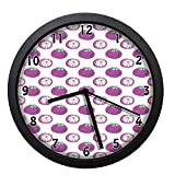 EaYanery Exotic Mangosteen Pattern Watercolor Drawing Halved and Whole Design Purple Green and White Wall Clock Home Decor 10in Non-Ticking Silent Decorative Clocks