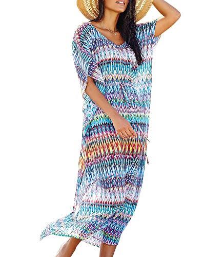 Cebilevin Damen Sommer Strandkleider Blau